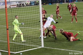 England Ellen White deflects in the ball in the 89th minute