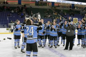Beauts Harrison Browne kisses the Isobel Cup