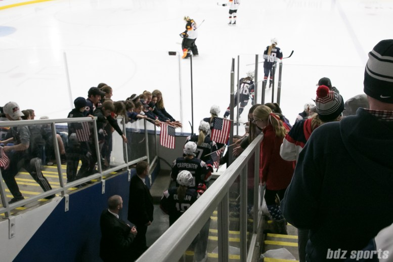 Team USA walks out onto the ice at the IIHF Women's World Championship semifinal game.