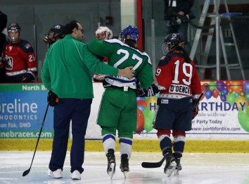 New York Riveters Miye D'Oench helping Connecticut Whale Nicole Connery off the ice