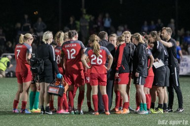 Portland Thorns FC huddle post-game.