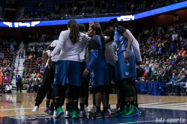 Minnesota Lynx huddle after warm ups.
