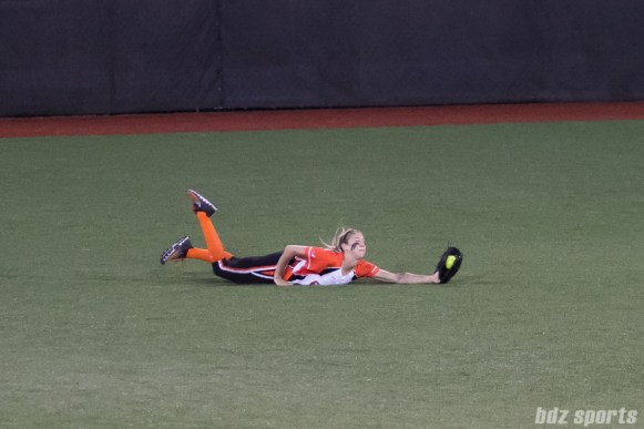 Chicago Bandits outfielder Brenna Moss (55) with the diving catch.