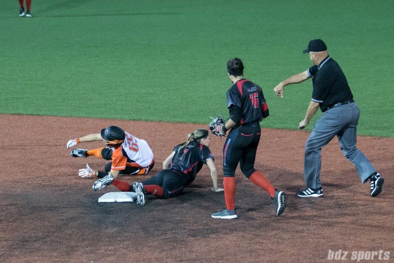 Chicago Bandits utility player Taylah Tsitsikronis (65) is called out by the umpire.