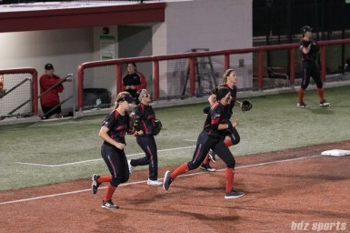 The Akron Racers infield take to the field.