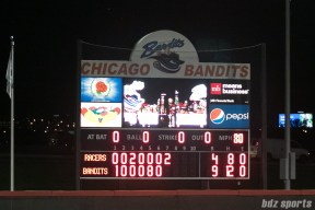 Final score of the June 2nd Chicago Bandits vs Akron Racers game: Bandits - 9, Racers - 4.