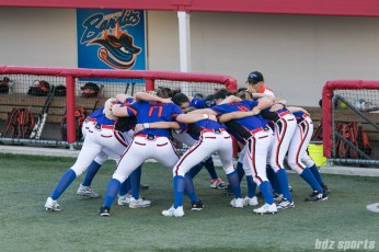 The Chicago Bandits huddle before the start of the game.