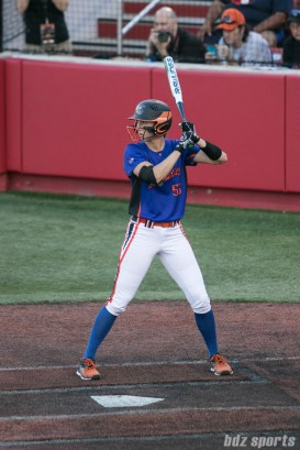 Chicago Bandits outfielder Brenna Moss (55) prepares for the next pitch.