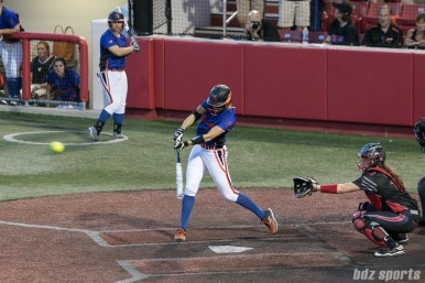 Chicago Bandits outfielder Brenna Moss (55) hits a triple to left center at the bottom of the 3rd inning.