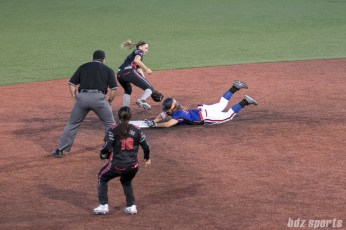 Chicago Bandits infielder Emily Carosone (15) slides and avoids the tag at second base.