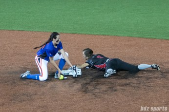 Akron Racers outfielder Shellie Robinson (3) steals second base.