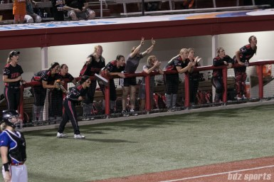 The Akron Racers dugout cheer on teammate Alex Hugo's double (not pictured).