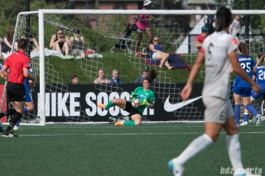 Boston Breakers goalkeeper Sammy Jo Prudhomme (15) makes a stop in front of the goal.
