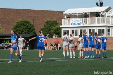 The Boston Breakers set up against a North Carolina Courage free kick.