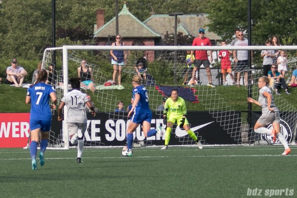 Boston Breakers forward Natasha Dowie (9) sets up to take a shot on goal.