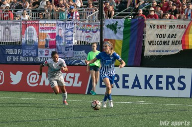 Boston Breakers defender Christen Westphal (20) looks to clear the ball up field.