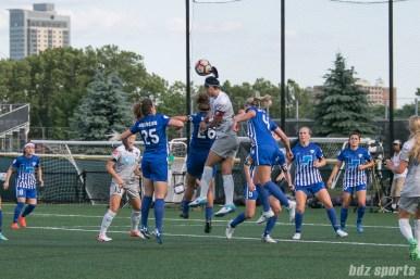 North Carolina Courage defender Abby Erceg (6) challenges Boston Breakers midfielder Angela Salem (26) on a corner kick ball.
