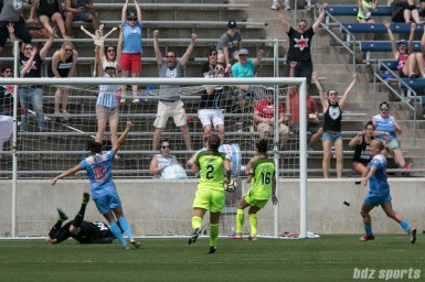 The ball hits the back of the net off the shot of Chicago Red Stars forward Christen Press (not pictured).
