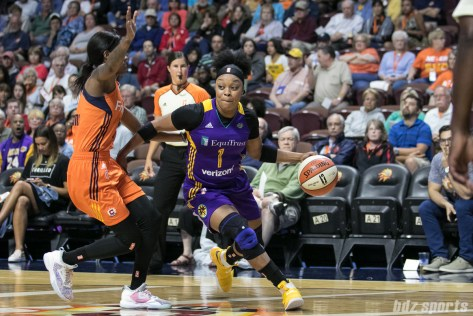 Los Angeles Sparks guard Odyssey Sims (1) drives to the basket.