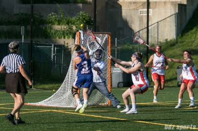 Long Island Sound attacker Christina Esposito (3) takes a shot on goal against Boston Storm goalie Rachel Vallarelli (26).