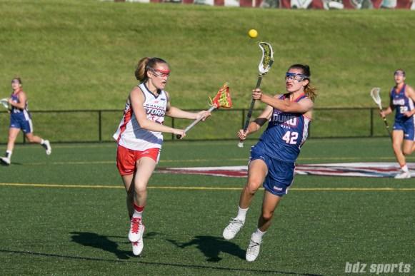 Long Island Sound midfielder Kristin Yevoli (42) passes the ball off.