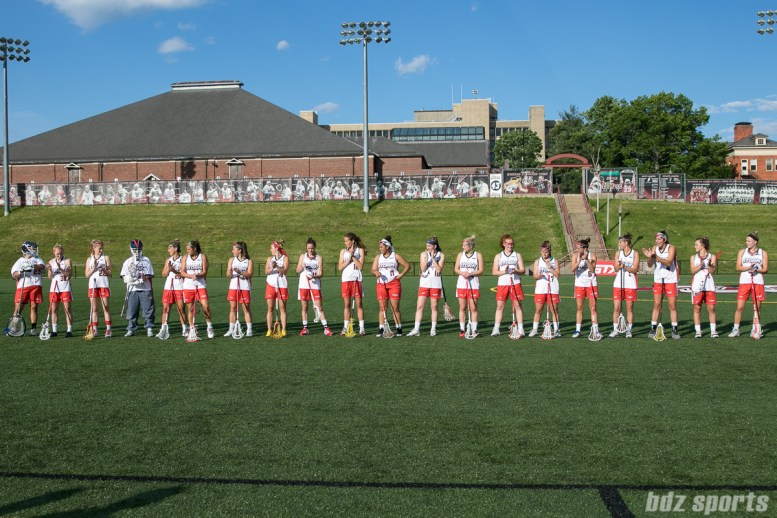 The Boston Storm line up at the start of the game.