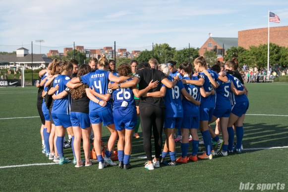 The Boston Breakers huddle at the end of the game. The Breakers lose 1-0 to top-ranked North Carolina Courage.