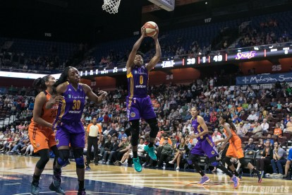 Los Angeles Sparks guard Alana Beard (0) comes up with the rebound.