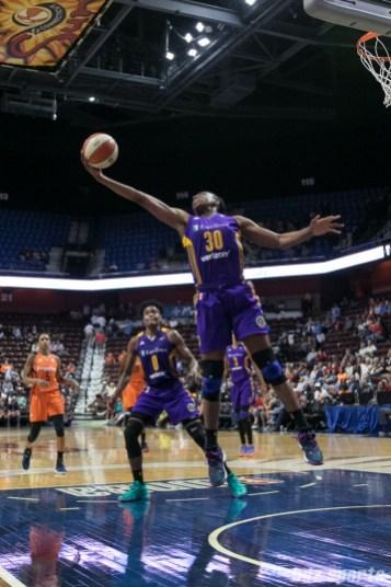 Los Angeles Sparks forward Nneka Ogwumike (30) grabs the defensive rebound.