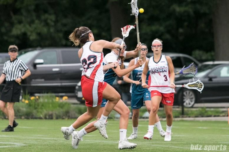 Boston Storm attacker Elisabeth Jayne (22) takes a shot on goal.