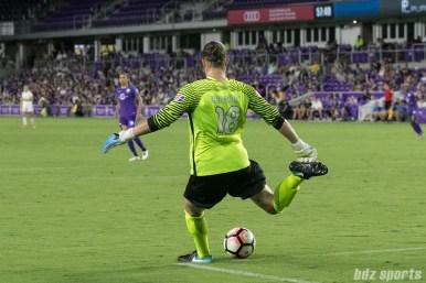 FC Kansas City goalkeeper Nicole Barnhart (18) takes a goal kick.