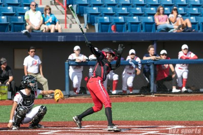 Akron Racers outfielder A.J. Andrews (9) watches the ball as it heads into the outfield.
