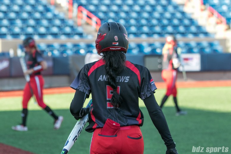 Akron Racers outfielder A.J. Andrews (9)