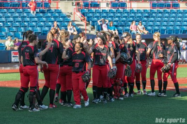 The Akron Racers high five after their 2-1 win over the Beijing Eagles on July 16, 2017.