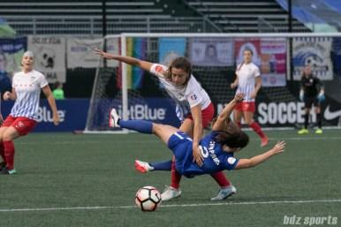 Chicago Red Stars forward Sofia Huerta (11) and Boston Breakers defender Allysha Chapman (2) get tangled up.