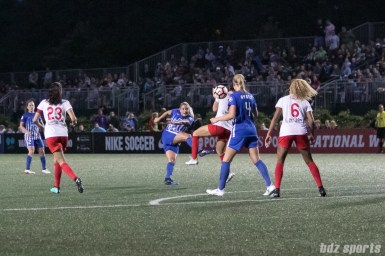 Boston Breakers forward Adriana Leon (19) volleys a shot on goal.