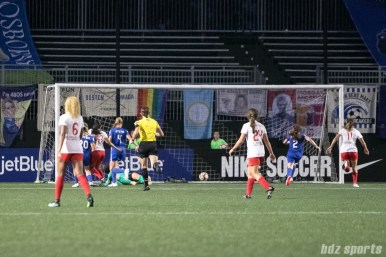 The ball rolls into the back of the net for a Chicago Red Stars goal that would be overturned for an offsides call.