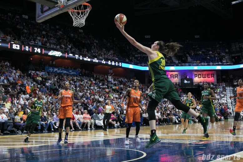 Seattle Storm forward Breanna Stewart (30) manages to lose her defender and goes in for an uncontested layup.