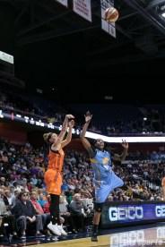 Connecticut Sun guard Rachel Banham (1) takes a shot.