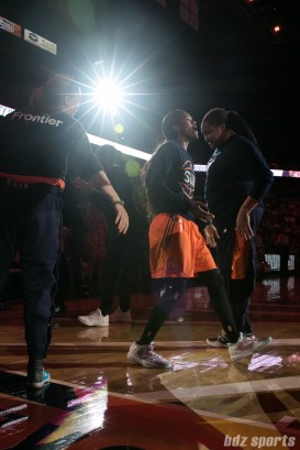 Connecticut Sun guard Courtney Williams (10) walks out during starting five announcements.