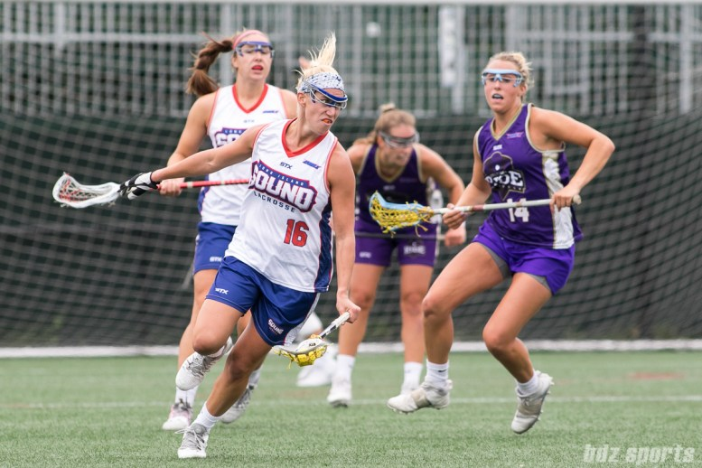 Long Island Sound midfielder Nicole Graziano (16) looks to bring the ball up the field.