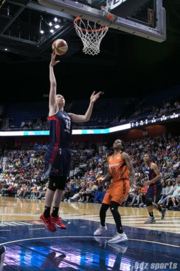 Washington Mystics center Emma Meesseman (33) puts in the easy basket for 2 points.