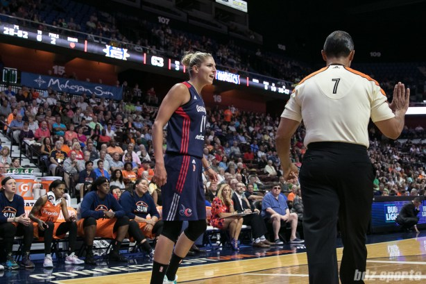 Washington Mystics forward Elena Delle Donne (11) reacts after making the basket and drawing a foul.