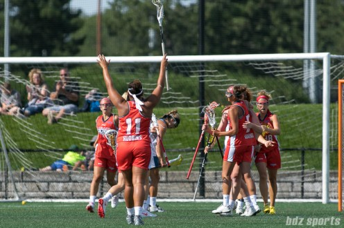 Boston Storm attacker Bre Hudgins (11) celebrates a Storm goal.