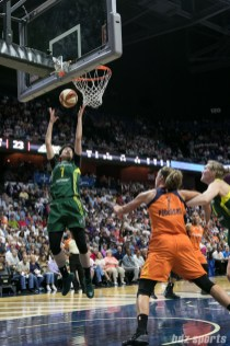 Seattle Storm forward Ramu Tokashiki (7) grabs a defensive rebound.