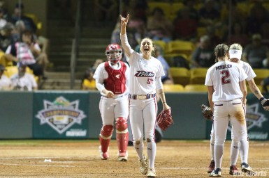 USSSA Pride pitcher Jolene Henderson (54) signals two outs down