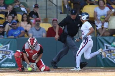 USSSA Pride Sierra Romero (32) runs home to score in the bottom of the 3rd inning