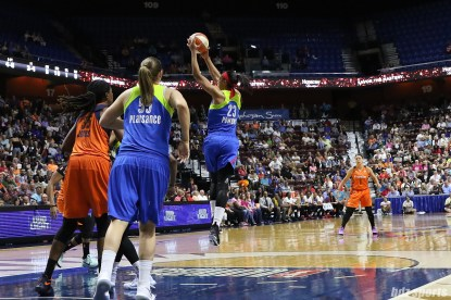 Dallas Wings guard Aerial Powers (23) grabs the defensive rebound