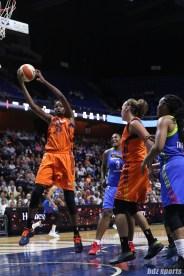 Connecticut Sun center Jonquel Jones (35) grabs a rebound