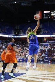 Dallas Wings forward Theresa Plaisance (55) grabs a pass out of the air